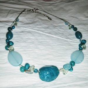 Jewelry - Floating Blue Bead Necklace/Earring Dangle Set